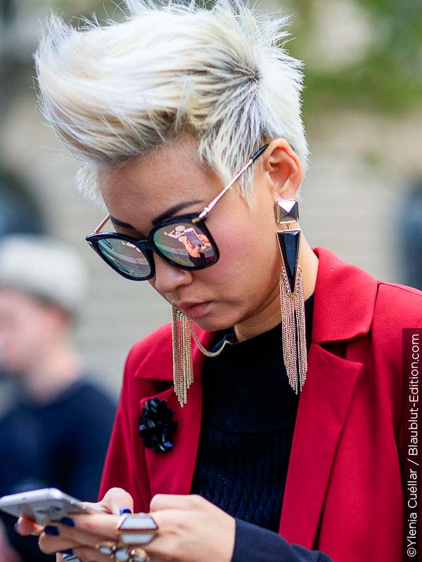 Woman with cool short hair cut.