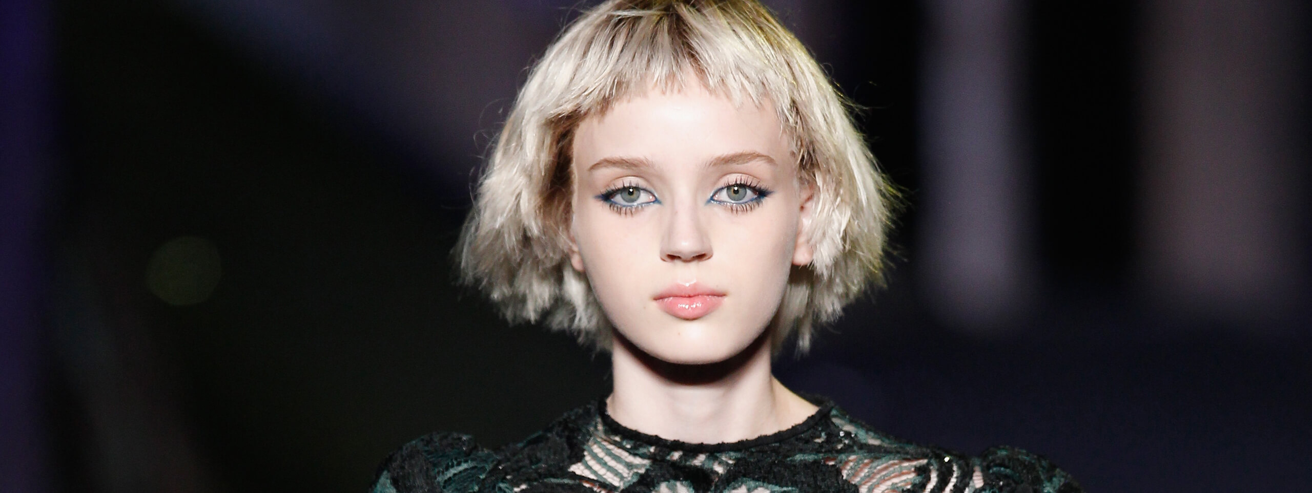 Blonde model with choppy bob hairstyle