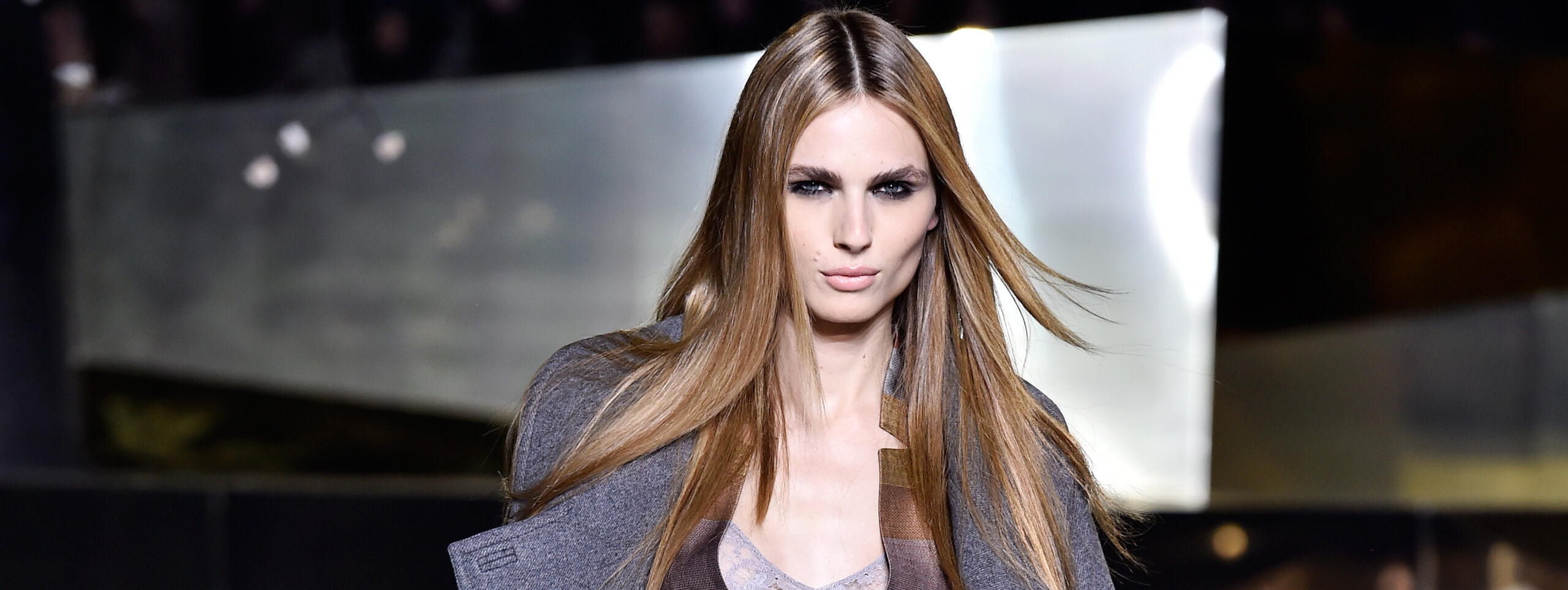 Model with long straight hairstyle