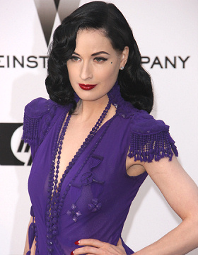 Dita von Teese wears black hair