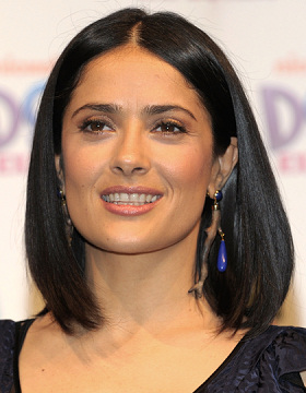 Salma Hayek wears black hair