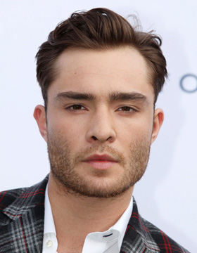 Ed Westwick wearing a side-parted hair style