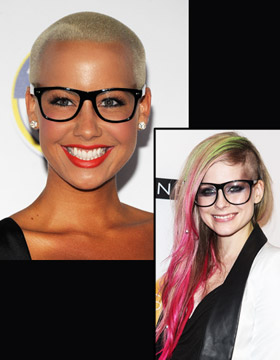 Hairstyle and Glasses: Amber Rose and Avril Lavigne