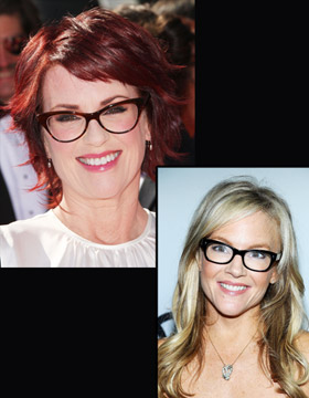 Hairstyle and Glasses: Megan Mullally and Rachel Harris